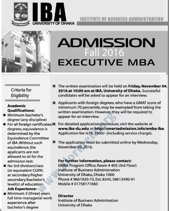 DU EMBA Admission Fall 2016
