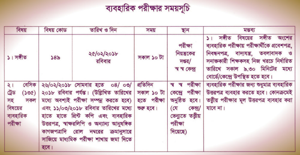 ssc routine 2018 practical