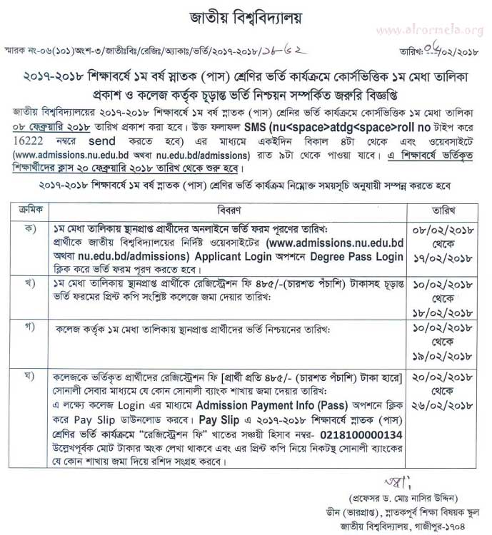 degree pass admission result