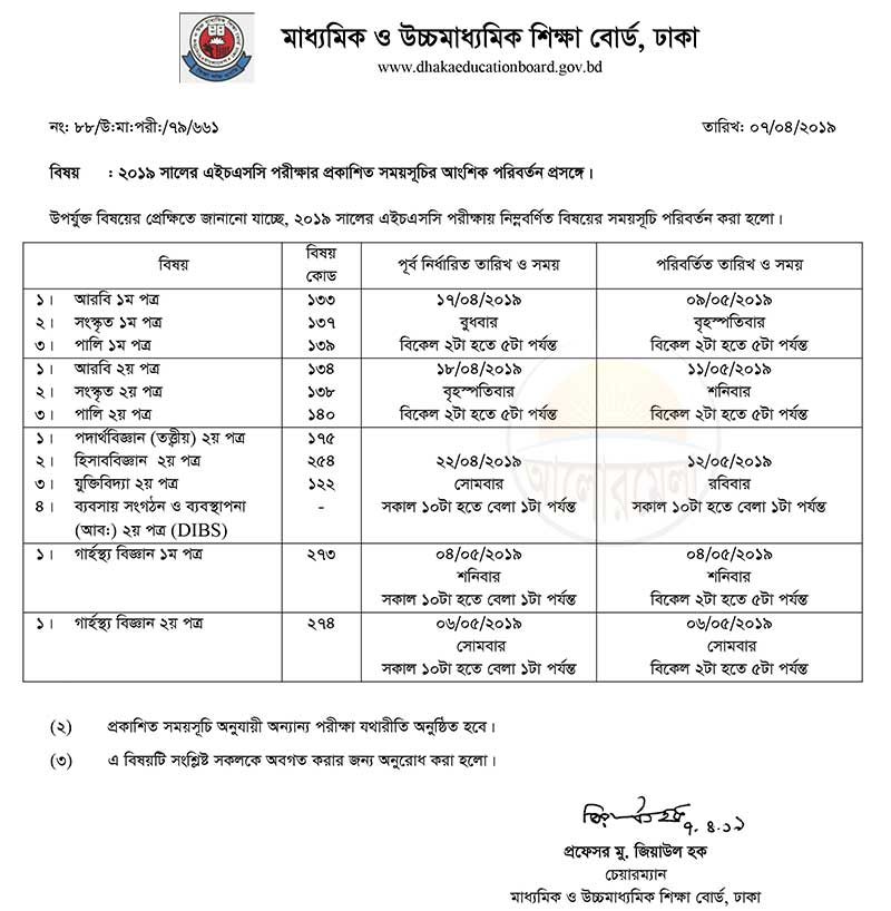 hsc revised routine 2019
