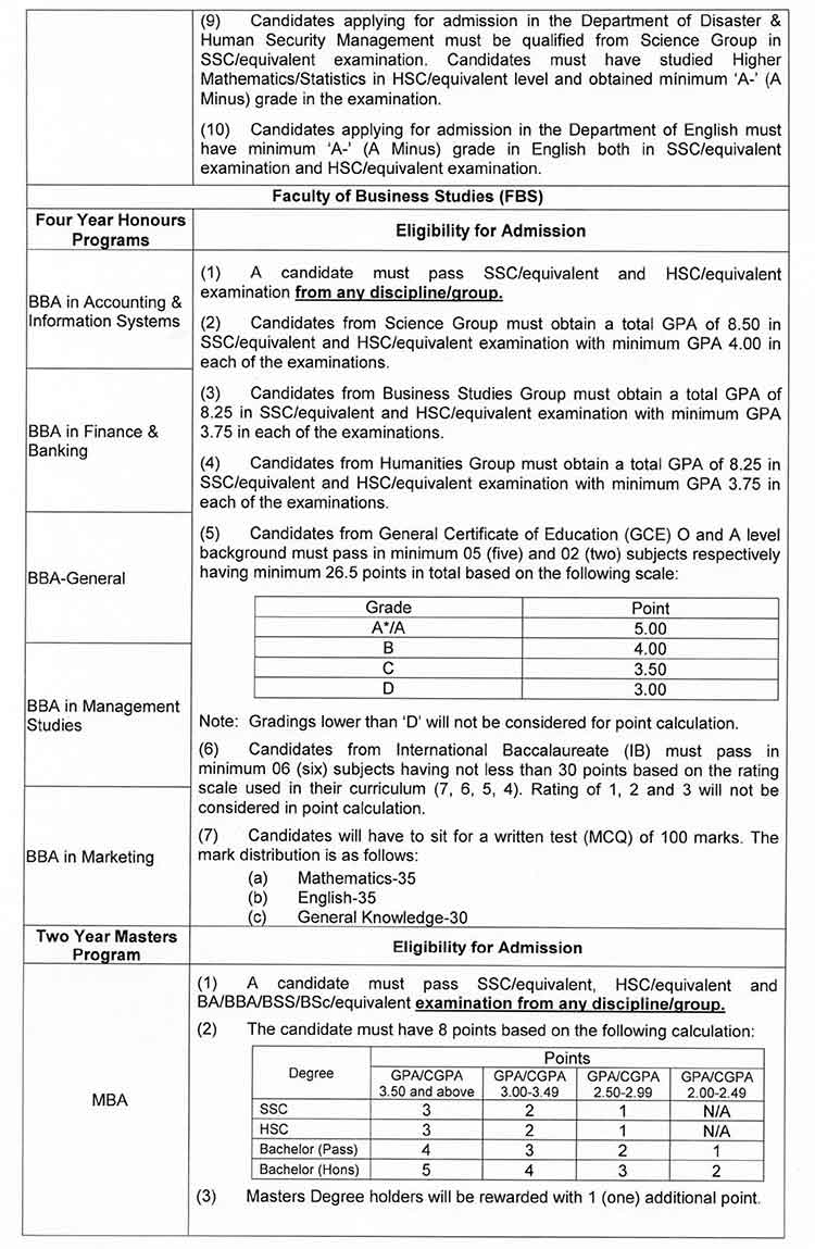 BUP Admission Notice 2