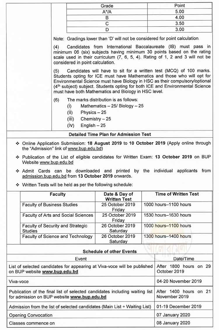 BUP Admission Notice 4