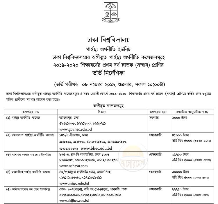 Home Economics College Admission Circular 2019 2020