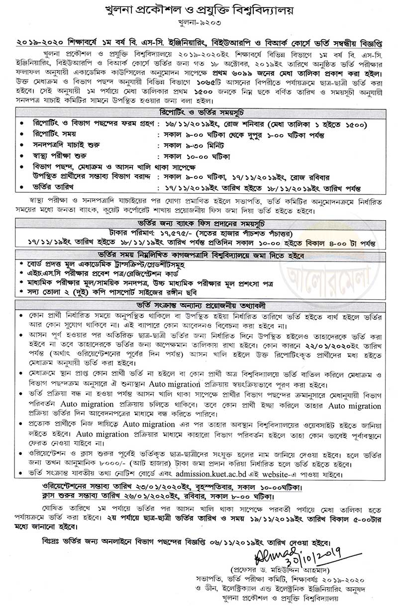 KUET Admission Test Result