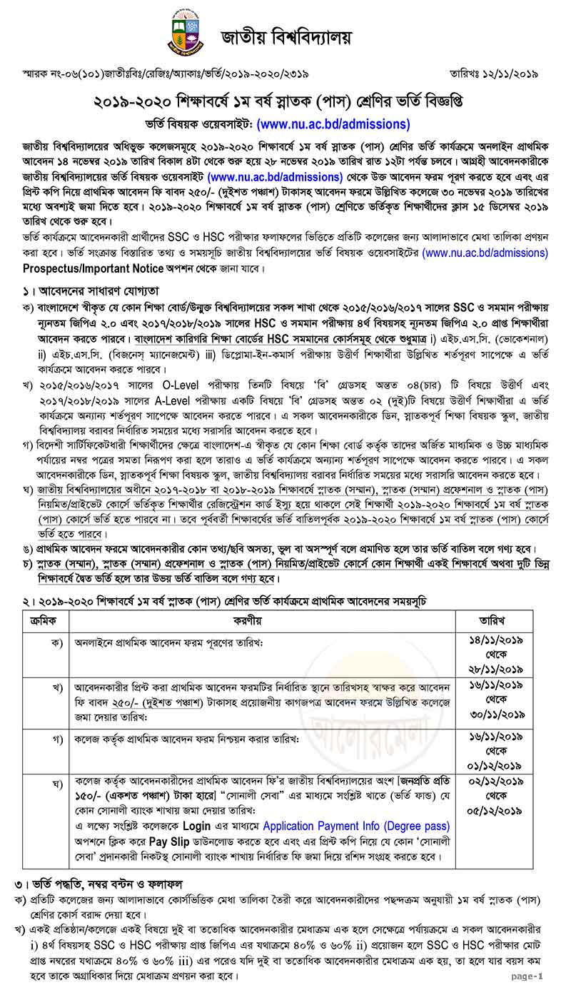 Degree Pass Courses Admission Circular