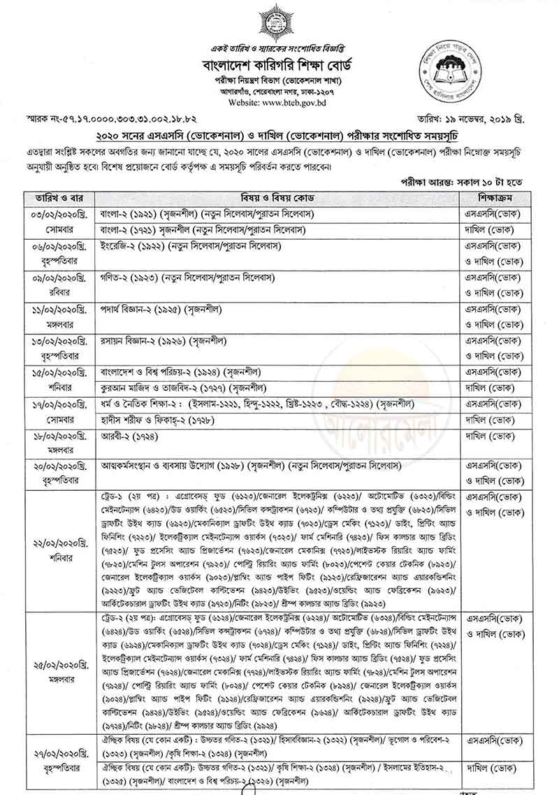 ssc dakhil vocational exam routine